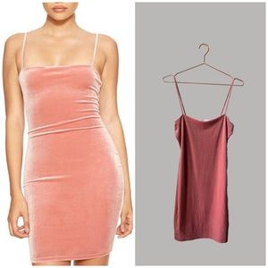 Naked Wardrobe Pink Velvet Mini Dress